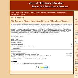 The Journal of Distance Education / Revue de l'Éducation à Distance