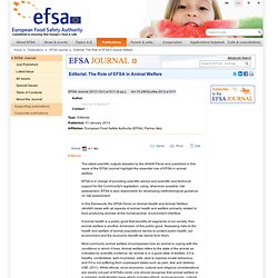 EFSA JOURNAL 31/01/12 Editorial: The Role of EFSA in Animal Welfare.