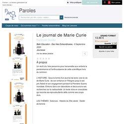 Le journal de Marie Curie - A partir de 12 ans