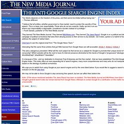 The Anti-Google Search Engine Index – The New Media Journal.us