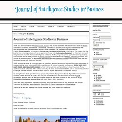 Journal of Intelligence Studies in Business