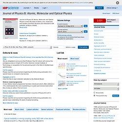 Journal of Physics B: Atomic, Molecular and Optical Physics