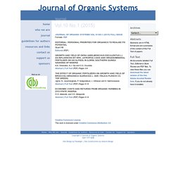 Journal of Organic Systems Vol. 10(1) 2015