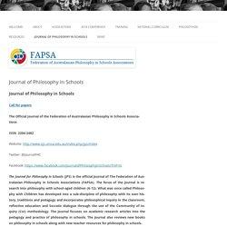 FAPSA - Federation of Australasian Philosophy in Schools Associations Journal of Philosophy in Schools »