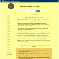 Journal of Political Ecology