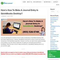 Here's How To Make A Journal Entry In QuickBooks Desktop?