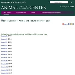 Index to Journal of Animal and Natural Resource Law