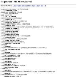 Journal Title Abbreviations