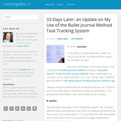 33 Days Later: an Update on My Use of the Bullet Journal Method Task Tracking System – <tamingdata />