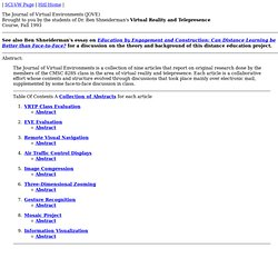 The Journal of Virtual Environments (JOVE)
