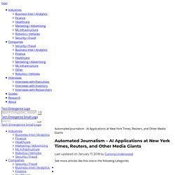 Automated Journalism - AI Applications at New York Times, Reuters, and Other Media Giants -