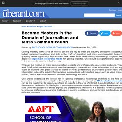 Become Masters in the Domain of Journalism and Mass Communication