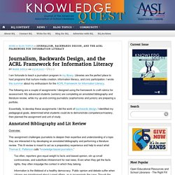 Journalism, Backwards Design, and the ACRL Framework for Information Literacy