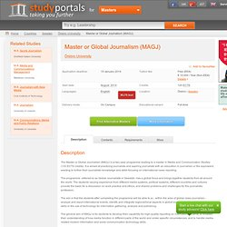 Master or Global Journalism (MAGJ) - at Örebro University, Örebro, Sweden
