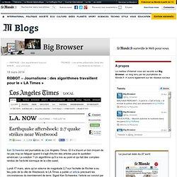 ROBOT – Journalisme : des algorithmes travaillent pour le «LA Times»