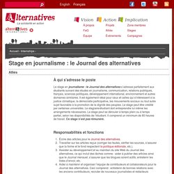 Stage en journalisme : le Journal des alternatives