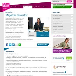 Magazine journalist job information