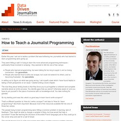 How to Teach a Journalist Programming