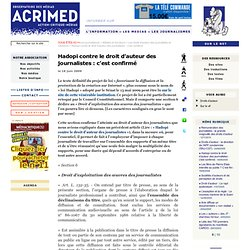 Hadopi contre le droit d'auteur des journalistes : c'est confirmé