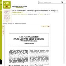 Les journalistes dans l'entre-deux-guerres une identité en crise