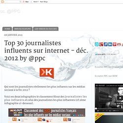Top 30 journalistes influents sur internet - déc. 2012 by @ppc