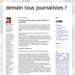 Les bases de données, nouveau métier du journaliste