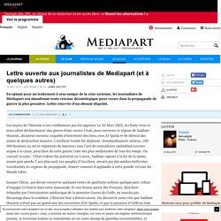 Lettre ouverte aux journalistes de Mediapart (et à quelques autres)