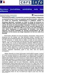 CNRS-Info n398 - Nouveaux journalistes, semblables mais bien differents