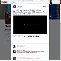 """Taha Riani op Twitter: """"Op zoek naar jongeren die Journalistiek, Marketing, Communicatie of PR studeren. Tag ze hieronder. RT = liefde!"""