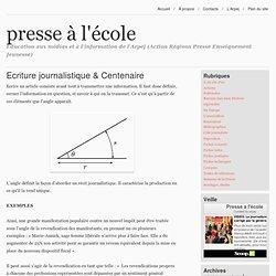 Ecriture journalistique & Centenaire