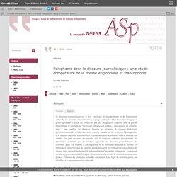 Polyphonie dans le discours journalistique: une étude comparative de la presse anglophone et francophone