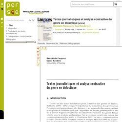 Textes journalistiques et analyse contrastive du genre en didactique