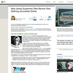 New Jersey Supremes Take Narrow View Defining Journalists Online