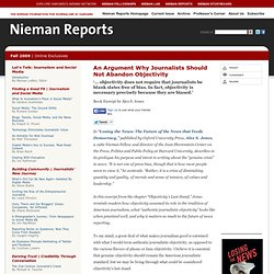 Nieman Reports | An Argument Why Journalists Should Not Abandon Objectivity