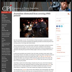 Journalists obstructed from covering OWS protests