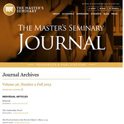 Journals Archive - The Master's Seminary