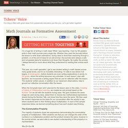 Math Journals As Formative Assessment