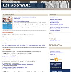 Oxford Journals | Humanities | ELT Journal