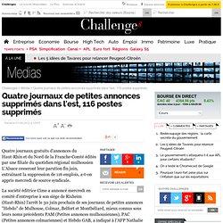Quatre journaux de petites annonces supprimés dans l'est, 116 postes supprimés