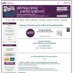 Journée d'études sur les effets de la participation. Démocratie & Participation.