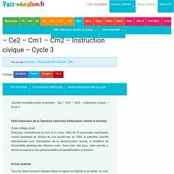 Journée mondiale contre le racisme - Ce2 - Cm1 - Cm2 - Instruction civique - Cycle 3