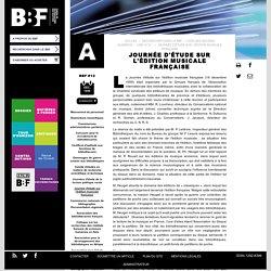 Journée d'étude sur l'édition musicale française