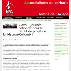 7 avril : journée nationale pour le retrait du projet de loi Macron-Collomb !