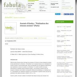 """Journée d'études : """"Poétisation des réseaux sociaux"""" (Paris)"""