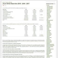 Jours fériés Etats-Unis 2015 - 2016 - 2017