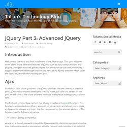 jQuery Part 3: Advanced jQuery - Tallan's Technology Blog