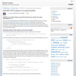 ASP.NET MVC & jQuery UI autocomplete - Stuart Leeks