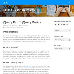 jQuery Part 1: jQuery Basics - Tallan's Technology Blog