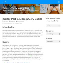 jQuery Part 2: More jQuery Basics - Tallan's Technology Blog