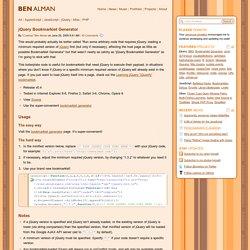 jQuery Bookmarklet Generator